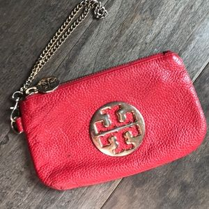 Tory Burch Red wristlet chain handle logo front